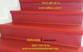 kırmızı merdiven kaplama